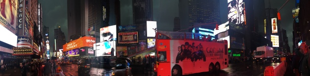 A crappy attempt at a panorama at Times Square.