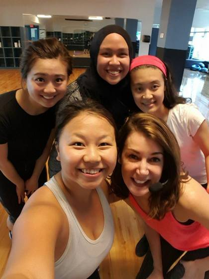 With some of the girls in the class after PiYo. Angela, the instructor, is the one on the bottom right :)