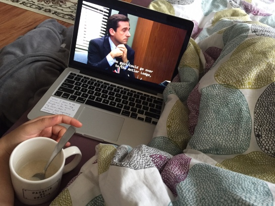 Watching it while having breakfast in bed.